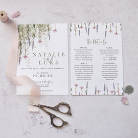 'Whisper' rustic wedding evening invites