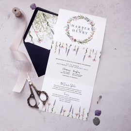 'Whisper Wreath' rustic wedding invites