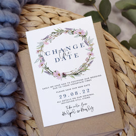 'Whisper Wreath' Wedding Change the Date cards