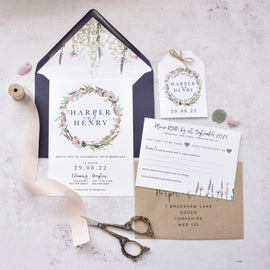 'Whisper Wreath' Evening Wedding stationery Suite