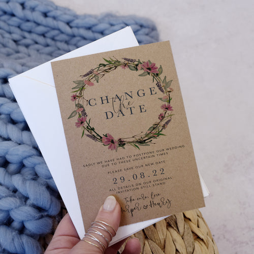 'Whisper Kraft' Personalised Rustic Wedding Change the Date cards