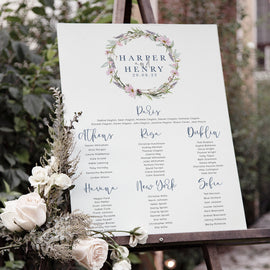 'Whisper Wreath' Wedding Table Plan