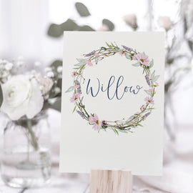 Wedding Table Name Cards for rustic weddings