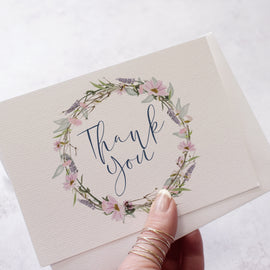 'Whisper Wreath' Wedding Thank You Postcards