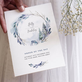 Winter wedding Order of the Day cards