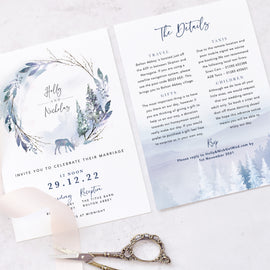 winter wedding evening reception invites