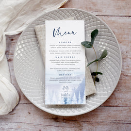Personalised winter wedding menu cards