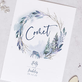 Winter wedding table name cards