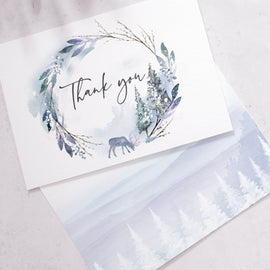 winter wedding thank you postcards