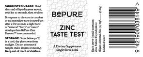 BePure Zinc Taste Test 10ml