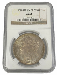 1878 7TF REV OF 78 S$1 Morgan Silver Dollar NGC MS64