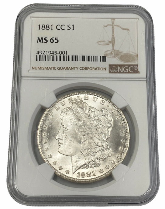 1881 CC Morgan Silver Dollar $1 NGC MS65