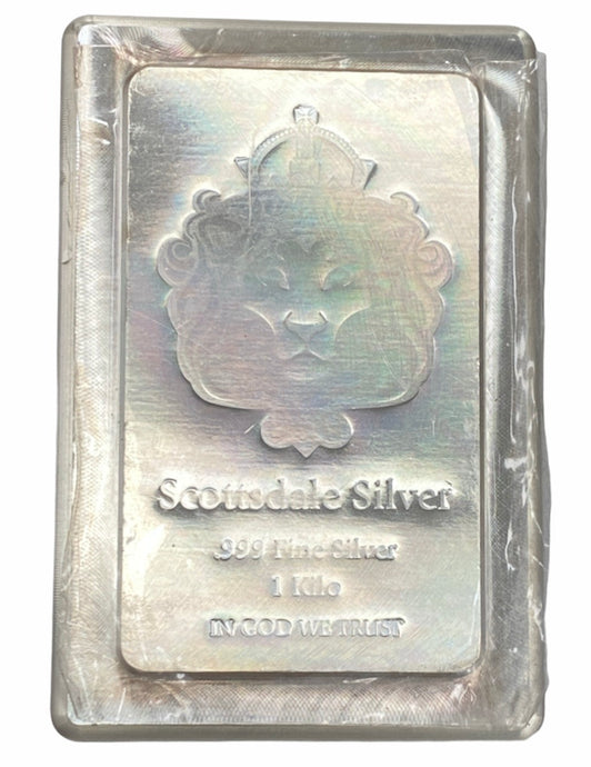 1 Kilo Scottsdale Stacker Silver Bar .999 Silver Bullion Fine Silver