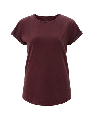 WOMENS ORGANIC  ROLLED SLEEVE T-SHIRT STONE BURGUNDY