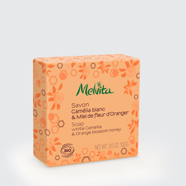 Melvita Singapore Organic Clean Beauty Soap Orange Honey Camellia