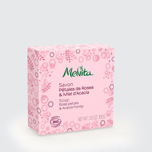 Melvita Singapore Organic Clean Beauty Rose Petals & Acacia Soap