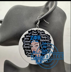 Zeta afro words earrings