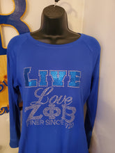 Load image into Gallery viewer, Live, love, Zeta bling shirt