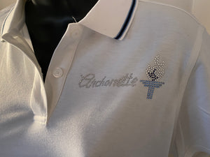 Archonette bling navy/baby blue polo