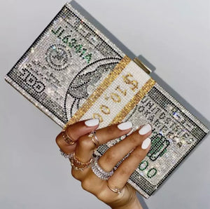 Money bling clutch