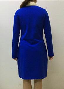 Zeta shield dress with removable pearl collar