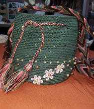 Load image into Gallery viewer, Small embellished green Wayuu bag - Kate Diaz