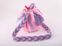 Load image into Gallery viewer, Medium embellished Pink Wayuu shoulder bag - Kate Diaz