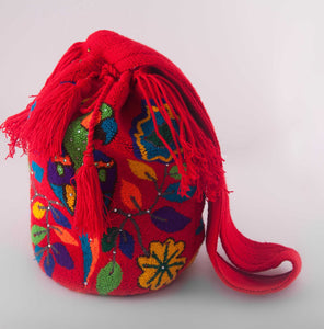 Big red embellished Wayuu bags - Kate Diaz