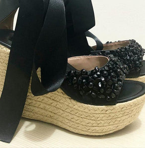 Handcrafted black wedges sandals - Kate Diaz