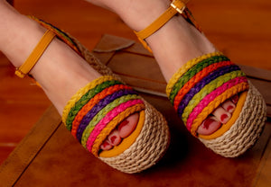 Hand-crafted multi-colour wedge sandals - Kate Diaz
