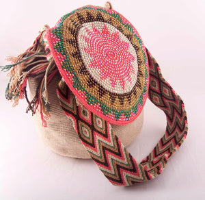 Big embellished brown Wayuu flap bag - Kate Diaz