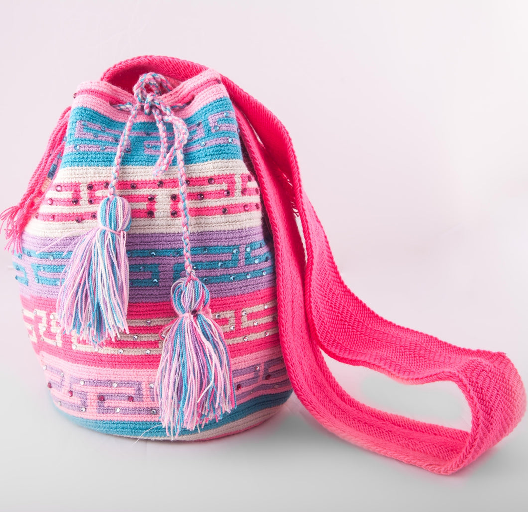 Big multi-colour embellished Wayuu bag - Kate Diaz