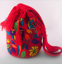 Load image into Gallery viewer, Big red embellished Wayuu bags - Kate Diaz