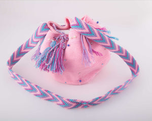 Medium embellished Pink Wayuu shoulder bag - Kate Diaz
