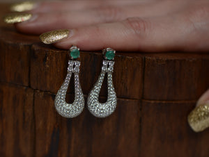 Emeralds, zirconia and silver earrings - Kate Diaz