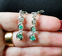 Load image into Gallery viewer, Emeralds zirconia silver long earrings - Kate Diaz