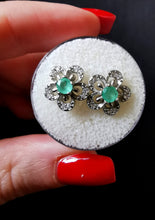Load image into Gallery viewer, Emeralds and silver earrings. - Kate Diaz