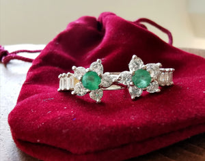 Emeralds and zirconia candonga flower earrings - Kate Diaz
