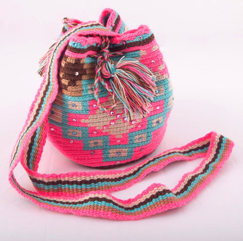 Small embellished multi-colour Wayuu bag - Kate Diaz