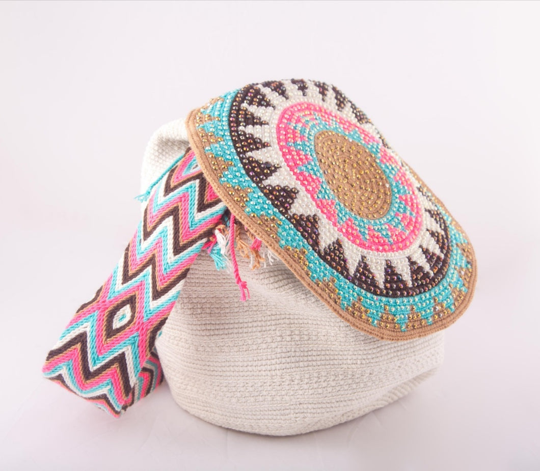 Big embellished white Wayuu flap bag - Kate Diaz