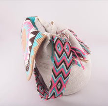 Load image into Gallery viewer, Big embellished white Wayuu flap bag - Kate Diaz