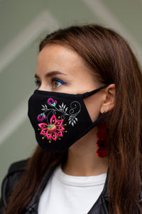 Anemone embroidered face mask