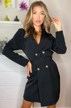 Load image into Gallery viewer, CANDICE BUTTON DETAIL BLAZER DRESS BLACK