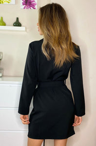CANDICE BUTTON DETAIL BLAZER DRESS BLACK