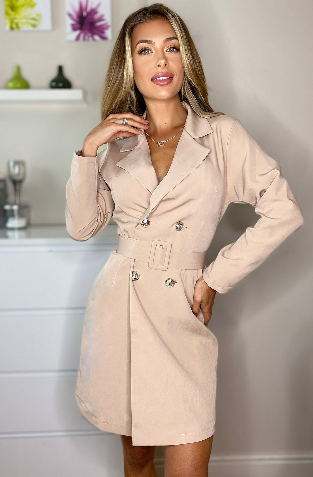 Candice Button Detail Blazer Beige Dress
