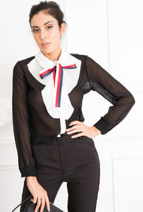 Black blouse with bow