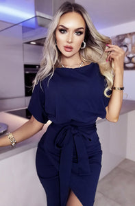 Judith Navy Wrap Front Batwing Dress