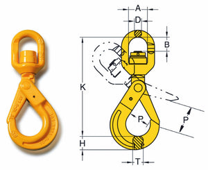 DA Swivel Self Locking Hook - Towne Lifting & Testing