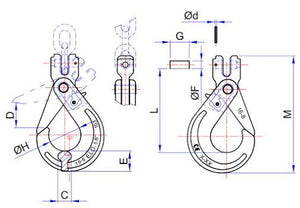 Grade 8 Clevis Self Locking Hook (ELD Series) - Towne Lifting & Testing