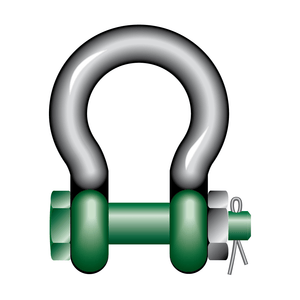 Green Pin Polar Bow Shackles with Safety Nut and Bolt Pin - GPPOL - Towne Lifting & Testing